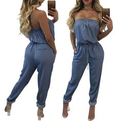 0e174d2611d S XXL Off Shoulder Rompers Womens Jumpsuit Jeans Full Bodysuit Women  Overalls Casual Vestidos TE3270-in Jumpsuits from Women s Clothing    Accessories on ...