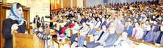 Chief Minister Mehbooba Mufti addressing the gathering after launching Jhelum-Tawi Flood Recovery Project in Srinagar.