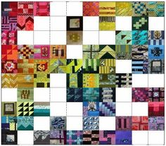 """A Quilter's Table: City Sampler Quilt Along ~ Visit Debbie from Seattle and her on-going City Sampler quilt. I LOVE it when a quilter is following Tula's City Sampler, putting it on a grid so I can watch the progress while delighting in each block. And, if you're not familiar with Tula Pink's City Sampler: 100 Modern Quilt Blocks,"""" book showing all of these block patterns, click here: http://www.amazon.com/Tula-Pinks-City-Sampler-Modern/dp/1440232148"""