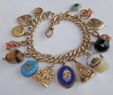 ANTIQUE VICTORIAN GOLD FILLED ENAMEL CORAL LOCKET FOB CHARM BRACELET