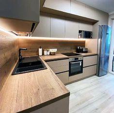 Simple Kitchen Design, Kitchen Room Design, Home Room Design, Kitchen Cabinet Design, Home Decor Kitchen, Interior Design Kitchen, Home Kitchens, Cuisines Design, Apartment Kitchen
