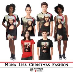 Mona Lisa Christmas Shirts and fashion at #Redbubble #SpoofingTheArts - Mona Lisa is ready for Christmas with her Santa Hat and Candy Canes in hand!