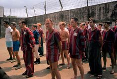 U.S. prisoners of war stand in the yard at Hanoi's Nga Tu So prison March 1973.