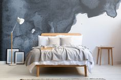 Navy Watercolor Wallpaper | Blue Smoke Design | MuralsWallpaper Watercolor Wallpaper, Watercolor Walls, Smoke Design, Living Room Color Schemes, White Sofas, Dining Room Walls, Modern Spaces, Room Colors, Design Trends