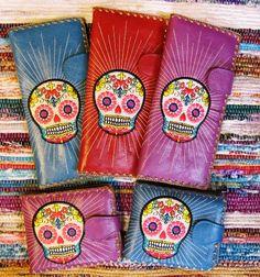 Embroidered sugar skull wallets!