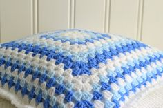 Blue and white granny chrochet pillow, handmade Swedish home decor, sofa cushion, cottage decoration