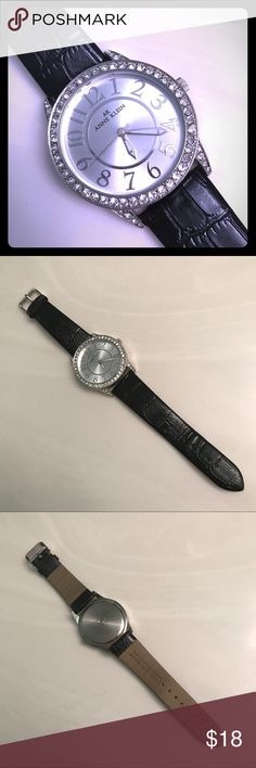 Anne Klein Crystal Bevel Watch Anne Klein large-face watch with crystal bevel frame. Genuine black leather strap (simulated leather backing).  Excellent condition, just needs a new battery. Anne Klein Accessories Watches