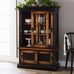 Enrich your home with the warm tones and elegance of the Dreamland Hutch. Handcrafted by skilled artisan Jumanah, this hutch is made from mahogany wood with a black/ brown finish. Brown Furniture, Wood Furniture, House Furniture, Kitchen Furniture, Furniture Ideas, China Hutch Decor, Painted Hutch, Brown Kitchens, Wood Dresser