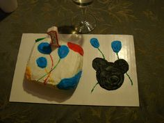 mickey mouse, first birthday smash cake...this was just for my son, this way we got to see him with the cake but we could still eat some with out him being all over it first!
