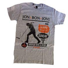 This gray t-shirt announces Jon Bon Jovi Live In Concert at the Hard Rock Hotel & Casino in Las Vegas, NV, It features a photo of Bon Jovi and the microphone. Bon Jovi Live, Jon Bon Jovi, Bon Jovi Concert, Jack Wagner, Emilio Estevez, Bon Jovi Always, Grey Shirt, T Shirt, My First Crush