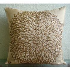 Throw Pillow Covers 20x20 Silk Bead Gold Embroidered Pillow Cover Decorative Couch Sofa Bed Pillow Cases Accent Pillows Gold Blossomings