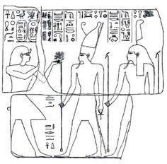 Relevé d'un relief représentant Osorkon Ier devant les dieux Atoum et Shou. XXIIe dynastie. Bubastis.