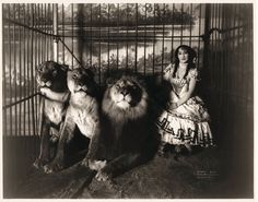 Adjie the Lion Tamer, Vintage Circus Photograph reproduction