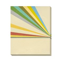How fun is this? A shock of rainbow stripes never hurts, especially in this slightly muted, lovably '70s palette. This retro-style canvas art print is the perfect way to add a pop of color to your tran...  Find the Retrobeams Canvas Print, as seen in the 3 Tips for Going Mid-Century Collection at http://dotandbo.com/collections/3-tips-for-going-mid-century?utm_source=pinterest&utm_medium=organic&db_sku=112655