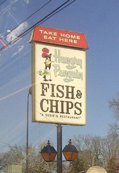 The old Hungry Penguin restaraunt sign on Clio Road in Flint,Michigan.
