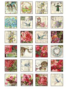 1.5 x 1.5 inch squares printable download digital collage sheet vintage images flowers card magnet sticker label hang gift tag tile no.247A