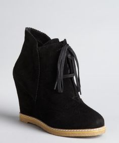 Kelsi Dagger : black suede 'Helix' lace up ankle boots