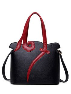 $16.52 Metal Two-Tone PU Leather Shoulder Bag