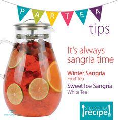 Party Cups, Tea Party, Winter Sangria, Sun Tea, Tea Recipes, Drink Recipes, Sweet T, Fruit Tea, Loose Leaf Tea