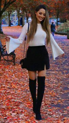 39 Hübsche Outfits Winter Ideen Stiefel Röcke www.addicfashion 39 Pretty outfits winter ideas boots skirts www. Casual Fall Outfits, Winter Fashion Outfits, Fall Winter Outfits, Look Fashion, Stylish Outfits, Autumn Fashion, Winter Night Outfit, Skirt Outfits For Winter, Winter Dresses With Boots