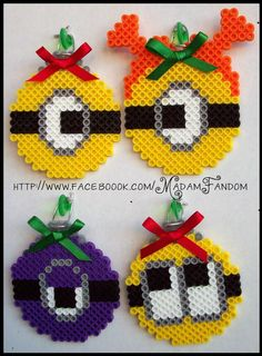 Despicable Me Minions Christmas Ornaments Set of 4 perler beads by MadamFandom