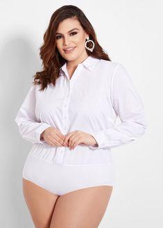 d245ee4b34 Button Front Shirt Bodysuit Plus Size Fashion