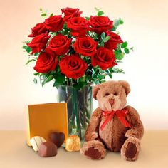 The Pleasure Of Giving Roses Is Amazing, And Much More When They Arrive With Beautiful And Sweets Chocolates... 12 Roses Arranged In A Vase, With A Delicious Box Of Chocolates And/Or A Tender Teddy Bear Approximately 60 X 55 Cm. Teddy Bear Online, Buy Teddy Bear, Chocolate Hampers, Chocolate Box, Animal Delivery, Chocolates Gourmet, 12 Roses, Cute Stuffed Animals, Balloon Bouquet