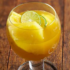 During the warm weather months, serve this fruity drink over ice.