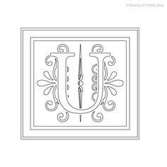 Stencil Letter Decorative U