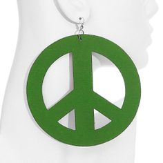 Green Wooden large Oversized Peace Sign Earrings