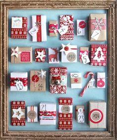 advent calendar idea. Attach boxes with Velcro dots.