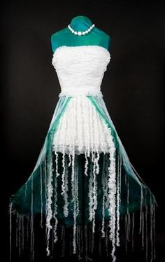 Jellyfish Dress - White grocery bags, green dry cleaner bags, and blue newspaper bags