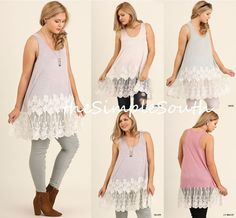 72f8eb3f74d New UMGEE Long Romantic Floral Lace Trim Layering Soft Knit Tank Top  Extender
