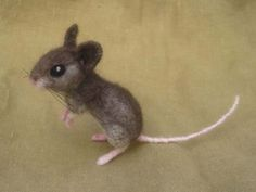 Needle felted gray mouse - poseable felted animal