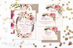 Romantic Watercolor Floral Wedding Invitation, Floral Wedding Invite, Floral Bohemian Style, RSVP card DIY Printable Invitations