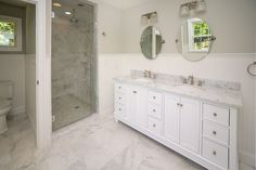 Traditional Master Bathroom with Victorian Widespread Bathroom Faucet - Lever Handles, Undermount sink, Wainscoting