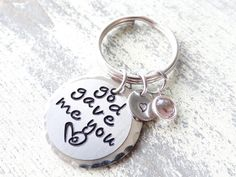 God gave me You Keychain, best friends, best friend keychain, friendship gift, birthday gift, god gave me you by creativemands1986 on Etsy