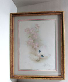 Vintage White Cat Art Print by Bob Harrison Framed 15 X 12 in Art, Art from Dealers & Resellers, Prints | eBay