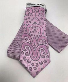 Stacy Adams Tie & Hanky Set Pink & Charcoal Multi Design Microfiber Men's #StacyAdams #TieHankySet