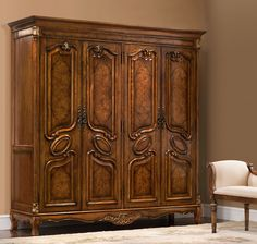 Orleans International Carlton Traditional Vintage Cohiba Four Door Armoire Antique Wardrobe, Wooden Wardrobe, Wardrobe Furniture, Wardrobe Door Designs, Wardrobe Design Bedroom, Indian Room Decor, Muebles Shabby Chic, Classic Cabinets, Luxury Homes Interior