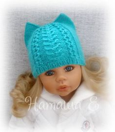 This Pin was discovered by ang Baby Hats Knitting, Knitting For Kids, Baby Knitting Patterns, Knitting Stitches, Knitted Hats, Crochet Doll Dress, Crochet Doll Clothes, Crochet Doll Pattern, Crochet Patterns