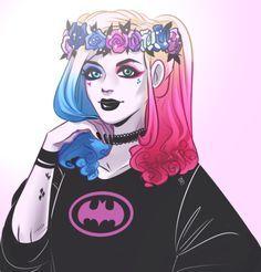Harley Quinn in a Batman sweater