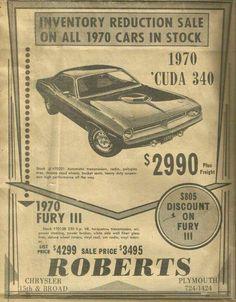 Trendy Muscle Cars For Sale Wheels Ideas Chrysler Dodge Jeep, Vintage Advertisements, Vintage Ads, Vintage Stuff, Vintage Antiques, Mopar, Plymouth Muscle Cars, Muscle Cars For Sale, Car Advertising