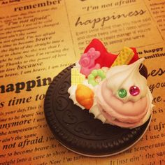 Sweet deco Mirror cookie Polymer clay MR007 by SweetieTiny, $7.99