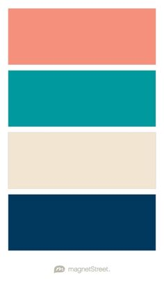Navy, Teal, Coral, and Silver Wedding Color Palette - custom color ...