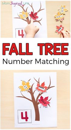 Fall tree number matching for preschoolers.