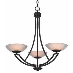 Dolan Designs Lighting Bronze Chandelier with Three Lights and Seeded Glass Shades | 1907-46 | Destination Lighting