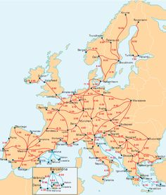InterRail map with travel times between popular destinations. You must learn to read the charts and books to plan a trip. Train travel is so dependable and easy.