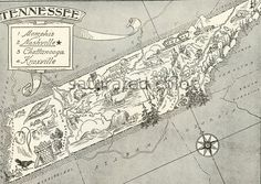 Tennessee Map  A 1950s Delightfully Amusing by SaturatedColor, $14.39