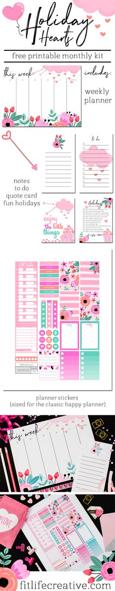 Holiday Hearts free printable monthly planner kit. Includes printable planner stickers in classic happy planner size, weekly planner, notes, to do list, cute journal card quote and fun February holidays.